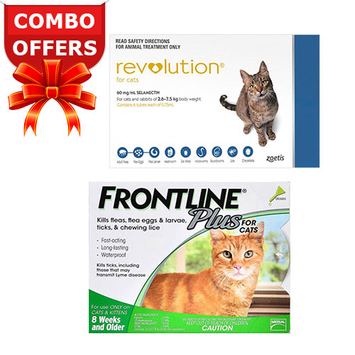 Frontline Plus & Revolution Combo Pack For Cats 5-15lbs - 3 Months Pack<br>Frontline Plus Cats + Revolution Cats Blue 3 Doses Each