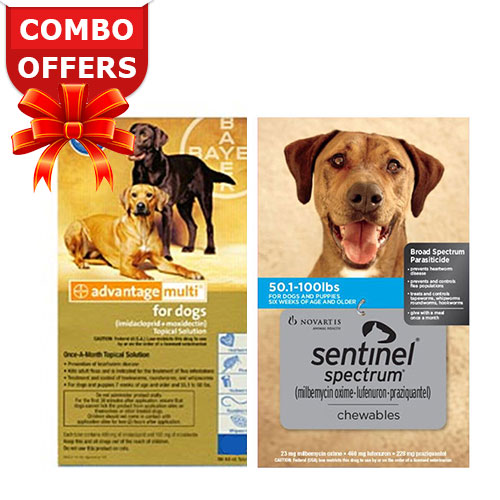 Advantage Multi & Sentinel Spectrum Comb For Extra Large Dogs 51-88lbs<br>Advantage Multi (Blue) + Sentinel Spectrum (Blue) 6 Doses each