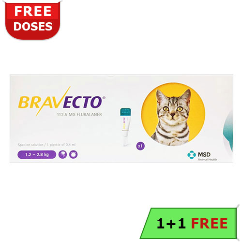 Bravecto Spot On for Small Cats 2.6 lbs - 6.2 lbs (Yellow) 112.5 mg