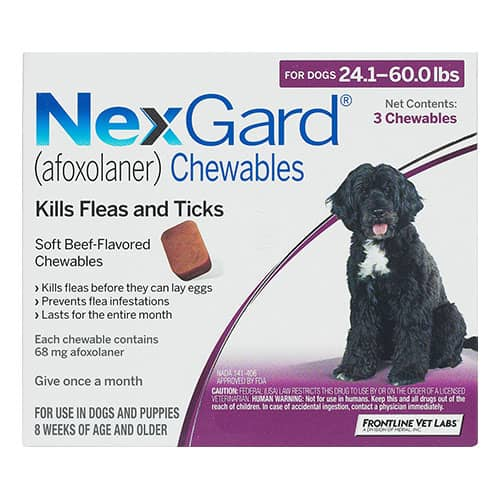 Nexgard Chewables for Large Dogs 24.1-60 lbs (Purple) 68mg