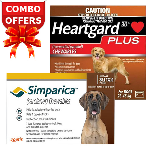 "Simparica + Heartgard Plus Combo Pack <span class=""comboPackMinus""> - </span><span class=""comboPackMain""><span class=""comboPackStrength"">For Extra Large Dogs (88lbs-100lbs)</span><span class=""comboPackContents""><span class=""comboPack1"">6 Doses of Simparica (Red)</span> <span class=""comboPackPlus"">+ </span><span class=""comboPack2"">6 Doses of Heartgard Plus (Brown)</span></span></span>"