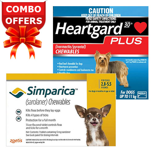 "Simparica + Heartgard Plus Combo Pack <span class=""comboPackMinus""> - </span><span class=""comboPackMain""><span class=""comboPackStrength"">For Very Small Dogs (2.8-5.5lbs)</span><span class=""comboPackContents""><span class=""comboPack1"">6 Doses of Simparica (Yellow)</span> <span class=""comboPackPlus"">+ </span><span class=""comboPack2"">6 Doses of Heartgard Plus (Blue) </span></span></span>"