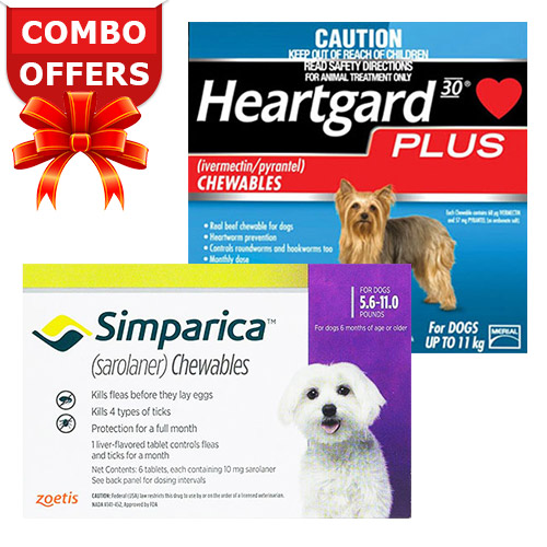 "Simparica + Heartgard Plus Combo Pack <span class=""comboPackMinus""> - </span><span class=""comboPackMain""><span class=""comboPackStrength"">For Very Small Dogs (5.5-11lbs)</span><span class=""comboPackContents""><span class=""comboPack1"">6 Doses of Simparica (Purple)</span> <span class=""comboPackPlus"">+ </span><span class=""comboPack2"">6 Doses of Heartgard Plus (Blue) </span></span></span>"