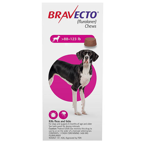 Bravecto for Extra Large Dogs 88-123lbs (Pink)