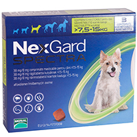 Nexgard Spectra Tab Medium Dog 16.5-33 lbs Green
