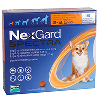 Nexgard Spectra Tab XSmall Dog 4.4-7.7 lbs Orange
