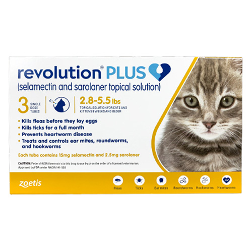 Revolution Plus for Kittens and Small Cats 2.75-5.5lbs (1.25-2.5Kg) Yellow