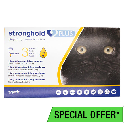 Revolution Plus (Stronghold Plus) for Kittens and Small Cats upto 5.5lbs (2.5Kg) Yellow